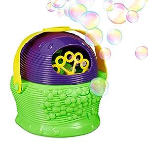 Relaxdays Máquina Burbujas para Niños con Pilas, Plástico, Verde-Morado, 19 x 20 x 13 cm