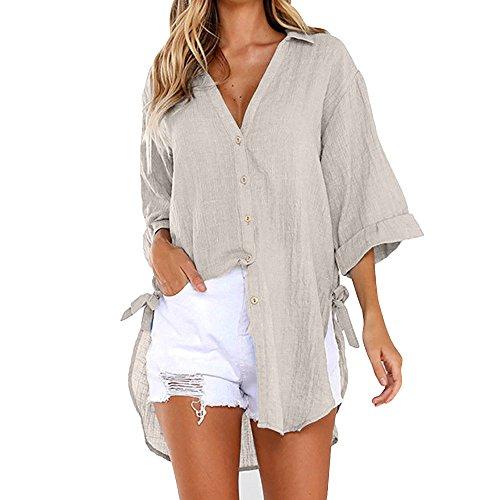 Calvin Langarm Kleid Shirt (Womens Loose Button Langes Hemd Kleid Baumwolle Damen Casual Tops T-Shirt Bluse Fashion Yin Yang Zero Zebra Zabaione Zara Zweifarbig 100% 1/2 2Er Pack 2/4 GrößE 60Er 7/8 80S 90S)