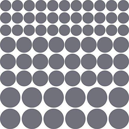 Adesivo coriandoli 69 pezzi set point pois diverse dimensioni (57x57cm // 071 grigio)