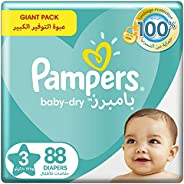 Pampers Baby-Dry, Size 3, Midi, 6-10 kg, Giant Pack, 88 Diapers