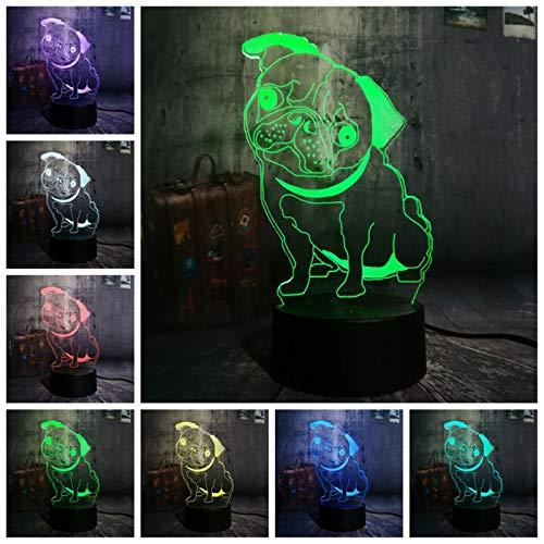 Geschenk Für Kinder Neuheit 3D Mops Niedlichen Welpen Led Nacht Hund Welpen Tier Schreibtisch Tisch Schlafzimmer Schlaf Wohnkultur Lampe Kind Geschenk Glühbirne (Darth Welpen Vader)
