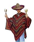 Bunter Poncho und Sombrero als Set - Mexikaner Kostüm