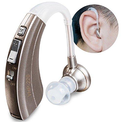 Opara Mini Hörverstärker VHP-220 Hörgerätehilfen Hinter dem Ohr Einstellbare Klangfarbe Gehörlose (Batterie) , Silver