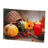 Fachhandel Plus Leinwandbild mit LED-Beleuchtung Wandbild Kürbis und Kerze Leuchtbild LED Bild