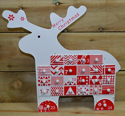 Preisvergleich Produktbild The Christmas Workshop Rentier 86150 aus Holz-Adventskalender mit Schubladen,  Rot / Weiß