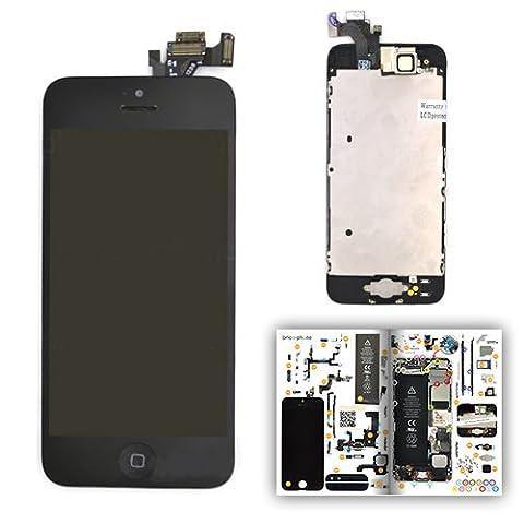 Ecran NOIR COMPLET PREMIUM pour iPhone 5 avec vitre + LCD prémontés sur châssis avec patron papier d'aide au montage offert
