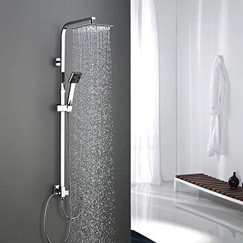 WOOHSE Duschsystem Duschset mit Kopfbrause Ultradünne und Handbrause Duscharmatur Brausekopf für Badezimmer Dusche mit Regendusche Quadrat 304 Edelstahl Duschstange Höhenverstellbar, ohne Armatur