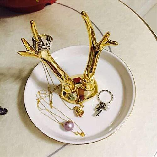 Schmuck-Organizer zum Aufhängen, Geweih, Hirschkopf, Geschenk-Ringhalter für Frauen, Einhorn, für Mädchen, Geburtstag, für Uhren, Halsketten, Armbänder, Schmuck, keramik, Antlers, 11x9cm (Geweih Montiert)