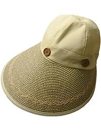 Sidiou Group Sombrero de vaquero vacío vacía del verano con el sombrero de paja plegable del borde ancho Sombrero desmontable de la playa del visera del sol para las mujeres