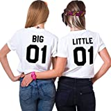 Best Friends T-Shirts für Zwei Damen Mädchen Sister Tshirt BFF Freundin Zwei Stücke Shirts Geschenk Freundschaft Sommer Oberteil Baumwolle Tops(Weiß,Big-XS+Little-XS)