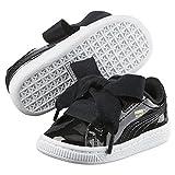 Puma Basket Heart Glam Inf, Unisex Children's Sneakers, Black - Black Lacquer - Size: 19 EU child