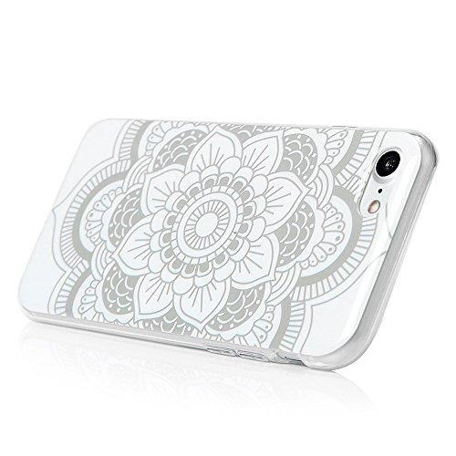 MAXFE.CO TPU Silikon Hülle für iPhone 7 Handyhülle Schale Etui Protective Case Cover Rück mit Totem auf weißen Blüten Skin Volltonfarbe Design Totem auf weißen Blüten