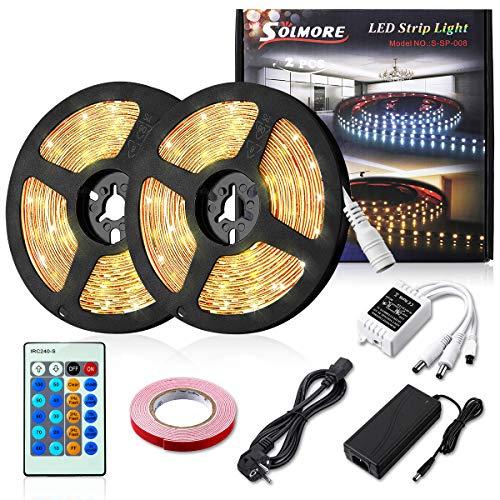 LED Streifen Warmweiß 10M SOLMORE 2x 5M LED Strip Dimmbar, Lichtband mit Netzteil Fernbedienung, Lichtleiste Lichterkette Bänder mit Klebeband 12V 2835 3000K für Innen Deko Küche Weihnachten