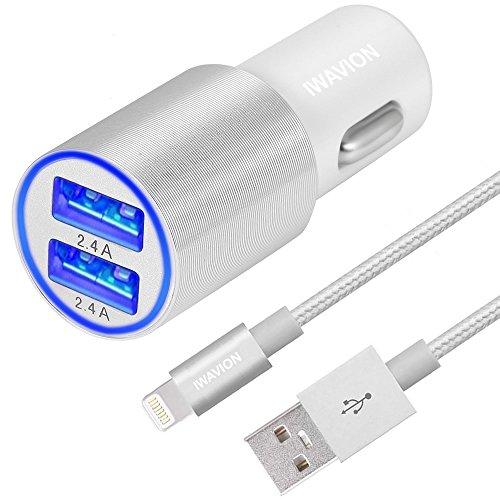 Kfz Ladegerät, IWAVION 4.8A/24W Schnelle Dual USB AutoLadegerät mit 1M Nylon Ladekabel Lightning Kabel für IPhone 7/7Plus/6s/6s Plus/6/SE/5s/5c/5, iPad Air/mini/Pro,Samsung und weitere(Silber)