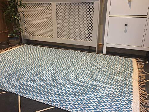 Second Nature Blaugrün Blau natürliches Fischgrätmuster Baumwolle Garn Teppich 120cm x 180cm - Baumwolle Teppich Garn