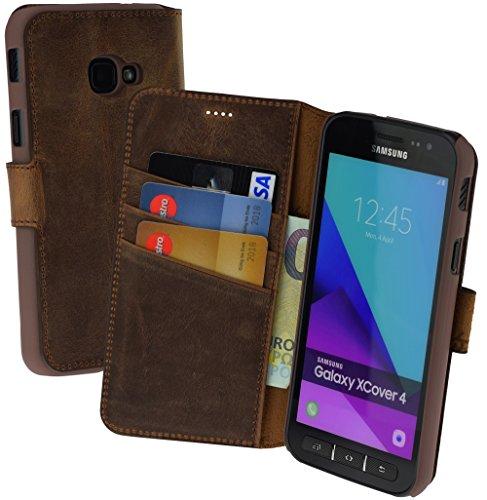 Suncase Book-Style (Slim-Fit) Ledertasche Leder Tasche Schutzhülle Case Hülle (mit Standfunktion und Kartenfach) kompatibel für Samsung Galaxy Xcover 4 in antik Coffee Leder-style-schutzhülle