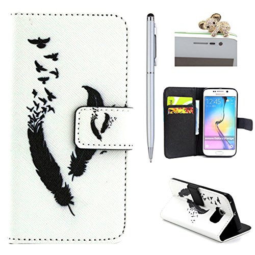 iPhone 6 4.7 Custodia pelle, iPhone 6S Flip Cover Magnetica, Felfy Rosa Smile Design Portafoglio Flip Folio PU Leather Chiusura Magnetica Cuoio Wallet Libro Custodia Caso Copertura Protettiva Support Piuma