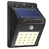 Aznoi Luci solari 16 LED Lampada Solare da Esterno Impermeabile con Sensore di Movimento per Parete, Muro, Giardino, Terrazzino, Cortile, Casa, Corraio (1Pcs)