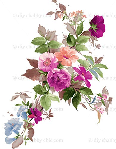 Möbel-Holz-Aufkleber, Bild Transfer Vintage Antik Etiketten Blume abstrakte Blumen DIY -