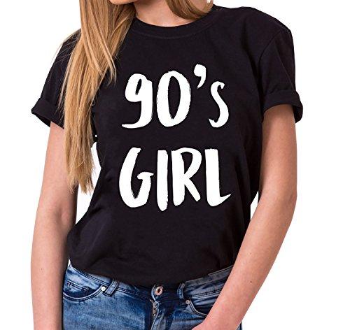 90´s Girl Trendiges Damen T-Shirt Girlie Kurzarm Baumwolle mit Druck, Farbe:Schwarz;Größe:L (Givenchy-t-shirt Frauen)