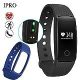 Id107 Smart Watch Fitness Tracker Herzfrequenzmonitor Sport Armbanduhr + Band - Schwarz