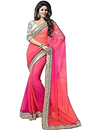 Manorath Women's Faux Georgette Saree With Blouse Piece (Sari_Pink_Saree 2D_Pink)