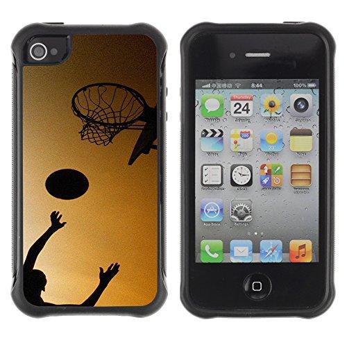 Graphic4You Basketball Korbball Spiel Sport Thema Design Harte Hülle Case Tasche Schutzhülle für Apple iPhone 4 und 4S Design #1