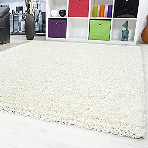SMALL - EXTRA LARGE SIZE THICK MODERN PLAIN NON SHED SOFT SHAGGY RUG REC & ROUND WEIGHT APPR. 2600 GR DEEPT 50 MM LIVING ROOM SHAGGY RUGS SUITABLE FOR UNDERFLOOR HEATING FLOKATI RUGS, Color:Cream, Size:60x110 cm