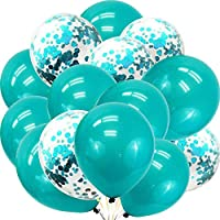 Saitec Teal Turquoise Balloons and Turquoise Confetti Balloons for Party Decorations, Teal Decorations for Birthday - Wedding - Engagement - Graduation - Teal Party Supplies