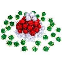 100 Piezas de Pompones de Navidad Pompones Brillantes Adornos para Manualidades Artesanía, Verde, Blanco y Rojo