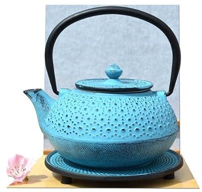 Gifts of the Orient Théière en fonte d'inspiration japonaise avec repose-théière 0,6 l Bleu avec motif fleurs