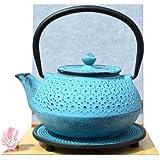 Gifts Of The Orient GOTO® - Salvamanteles Y Hierro Fundido Daisy Azul Tetsubin Tetera Cafetera 0,6 L Estilo Japonés