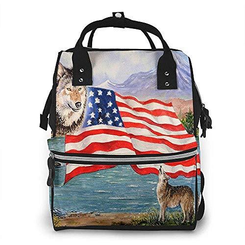 Bolsa de pañales Wildlife Freedom Usa Flag Mochila de momia Impermeable de gran capacidad...