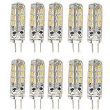 Pixnor 10pcs risparmio energetico G4 12V DC 1, 5W 3014 24 SMD LED lampadine LED lampade luci (bianco caldo)
