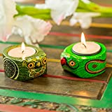 ExclusiveLane Handmade & Hand-Painted Owl & Parrot Home Decorative Tea Light Holder Cum Decorative Candle Holder In Wood -Tealight Candle Holders Diyas And Lanterns Diwali Decoration
