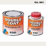 De IJssel Double Coat 2K Bootslack - Farbe cremeweiß/RAL 9001-500 Gramm Set - (Yachtlack, Decklack) Creme Weiß