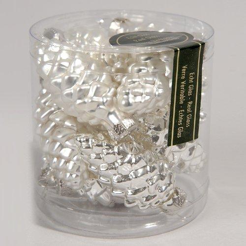 Glas Tannenzapfen-12x 60mm, silber Tannenzapfen Silber