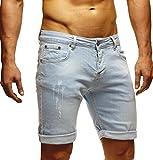 LEIF NELSON Herren Jeans Shorts LN1397; W33; Hell Blau
