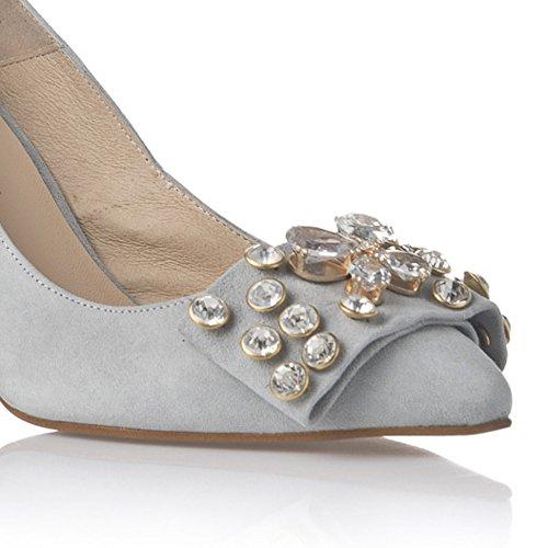 Laura Moretti - Stilettos roses avec des détails en bijoux. Azur