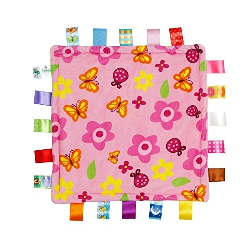 ICYANG Infant Schmusedecke,Niedliche Baby Sicherheitsdecke Einschlagdecke Handtuch,Ultra Soft Kuscheltuch Plüsch Spielzeug(11.81X11.81Zoll, rosa Blumenmuster)