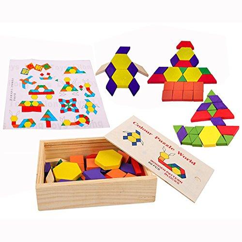 OFKPO Tangrams Puzzles Set,Bunt Holzpuzzle Geometrie Formen Knobelspiel für Kinder(60 Stück)