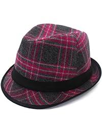 Gr Plaid Woolen Cap Red Wolle Hut Mode Wild Gezeiten Cap Plaid Hat Frühjahr und Winter neue Männer und Frauen General (Color : Rose red)