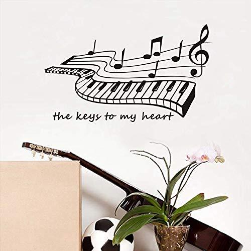 Die Schlüssel Zu Meinem Herzen Klavier Wandaufkleber Für Wohnzimmer RoomHome Decor Vinyl Wandtattoos Abnehmbare Beliebte Kunst Musik Tapete 59x34 cm -