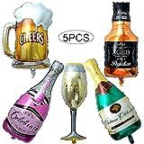 Comius Palloncini Champagne, 5Pcs Foglio di Alluminio Palloncino Bottiglia di Vino, Giganti Gonfiabile Pallone della Stagnola per Festa Nuziale Decorazione (Champagne)