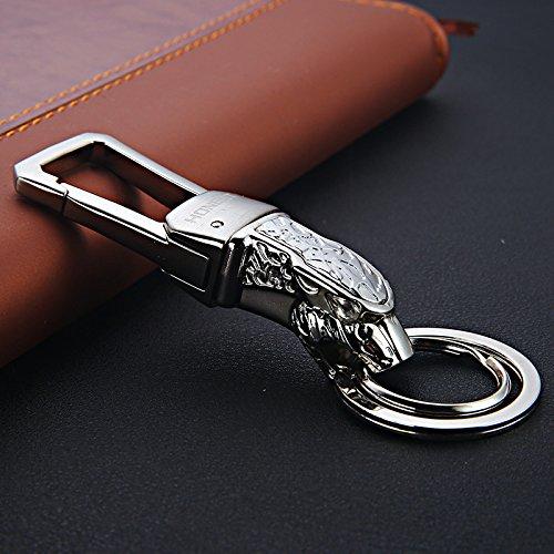 elanhänger Großhandel High-End-Jaguar Keychain Metall Anhänger Leopard Kopf Kleines Geschenk - 648 Helles Silber ()