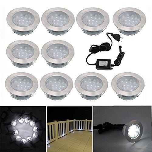 10x Lampe de Spot Encastrable LED pour Terrasse Enterre Plafonnier, 110lm DC12V IP67 Etanche Ø60mm Acier inoxydable Exterieur luminaire Eclairage Décoration pour Jardin Chemin Couloir Bassin Piscine, Blanc Froid