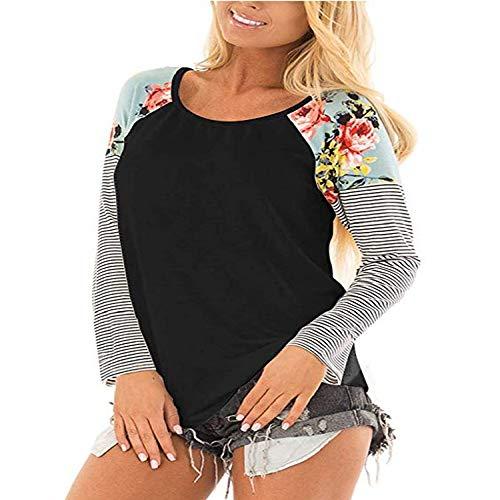 Florale Langarm-strickjacke (CHENXING T-Shirt Damen Strickjacke Pullover Frauen Herbst Neue Rundhals Langarm 2019 Arbeitskleidung T Shirt Floral Print Raglan Hülse Beiläufige Plus Schwarz Frauen Top Tees X1SchwarzS)