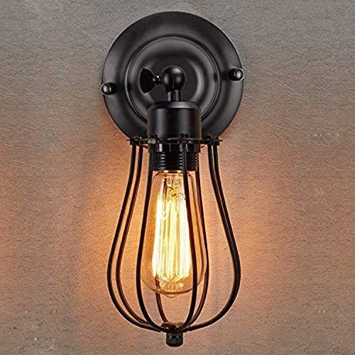 Lightsjoy Vintage Lámpara de pared industrial E27 Lámpara de pared Interior Retro Celosía Iluminación...