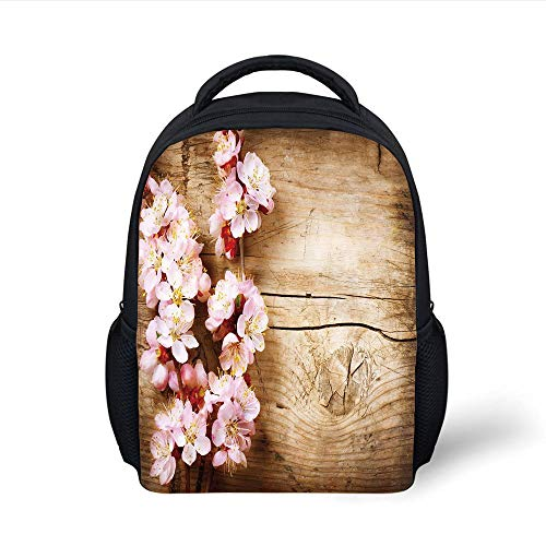 Kids School Backpack Floral,Spring Blossom Orchard Featured Plant on Wooden Board Background Image,Sand Brown Light Pink Plain Bookbag Travel Daypack -