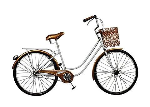 Déco murale métal : Vélo rétro Blanc, L 97 cm